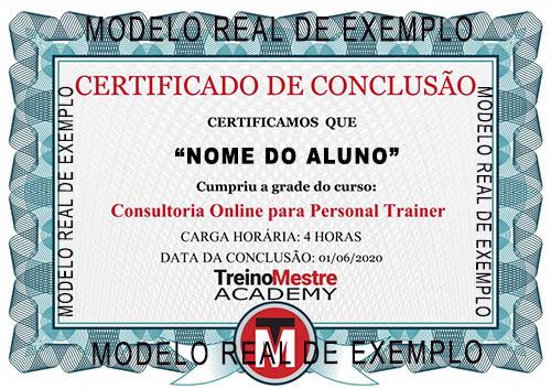 certificado conclusão curso consultoria online personal trainer