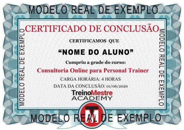 certificado conclusão curso personal trainer consultoria online