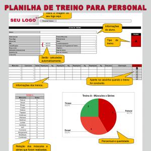 lanilha de treinamento para personal trainer
