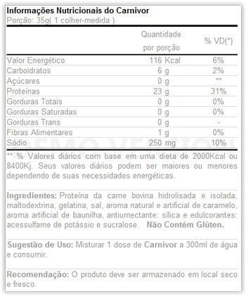 informações nutricionais do suplemento carnivor