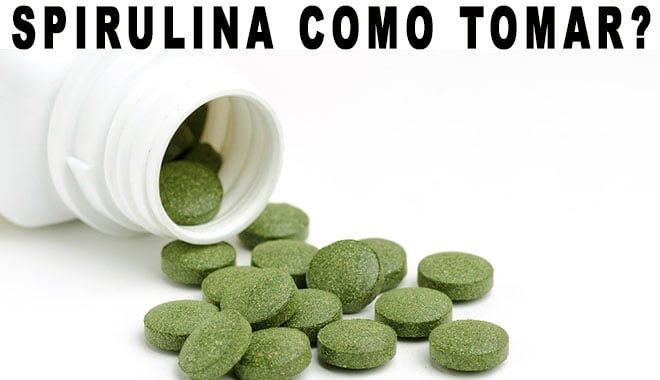 Spirulina em pó, cápsulas e comprimidos, com tomar