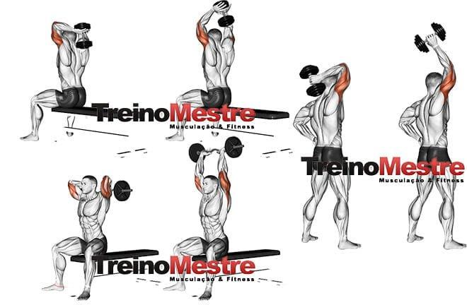 tríceps francês execução halter barra unilateral