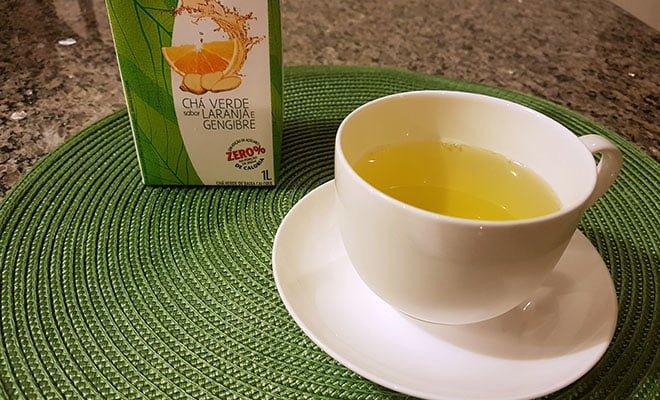 chá verde com gengibre de caixinha