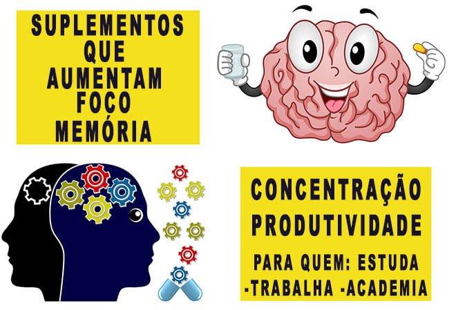 suplementos aumentam foco memória concentração produtividade disposição